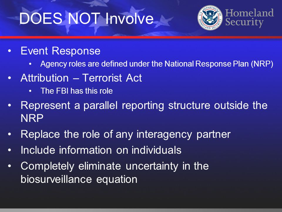 DOES NOT Involve Event Response Agency roles are defined under the National Response Plan (NRP) Attribution – Terrorist Act The FBI has this role Repr