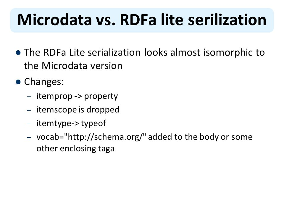 Microdata vs. RDFa lite serilization The RDFa Lite serialization looks almost isomorphic to the Microdata version Changes: – itemprop -> property – it
