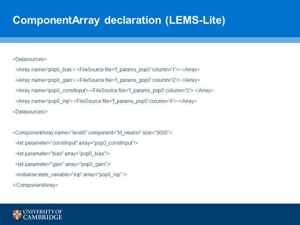 ComponentArray declaration (LEMS-Lite)