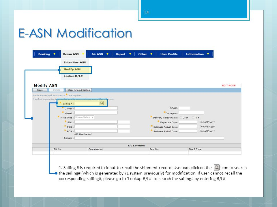 14 E-ASN Modification 1.Sailing # is required to input to recall the shipment record.