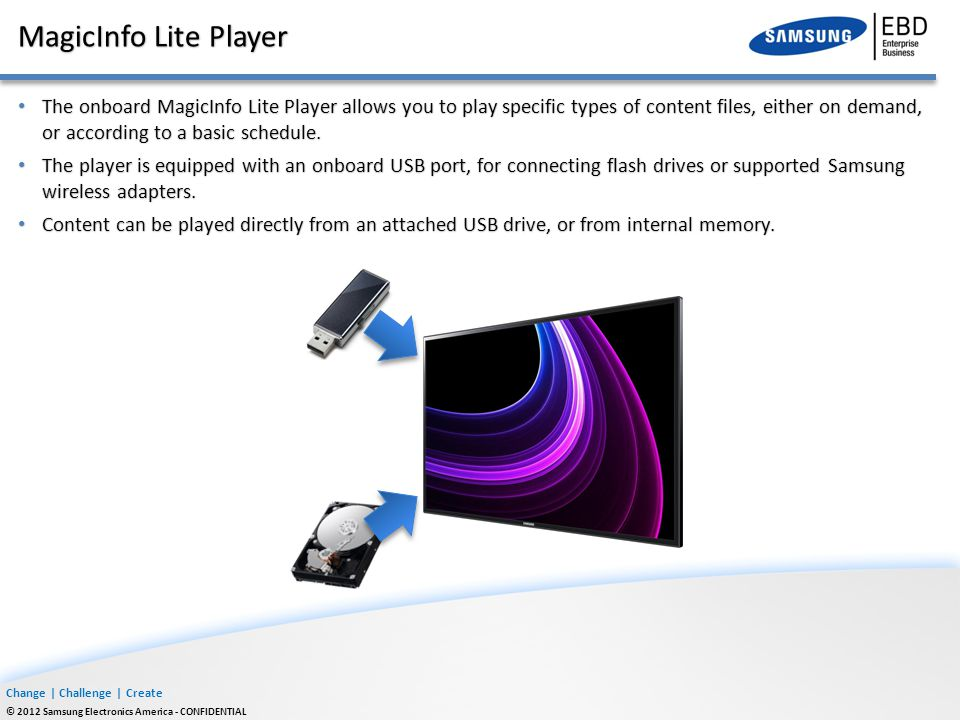 Change | Challenge | Create © 2012 Samsung Electronics America - CONFIDENTIAL MagicInfo Lite Player The onboard MagicInfo Lite Player allows you to pl