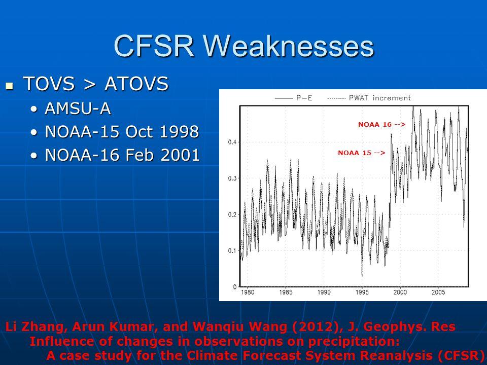 CFSR Weaknesses TOVS > ATOVS TOVS > ATOVS AMSU-AAMSU-A NOAA-15 Oct 1998NOAA-15 Oct 1998 NOAA-16 Feb 2001NOAA-16 Feb 2001 NOAA 15 --> NOAA 16 --> Li Zh