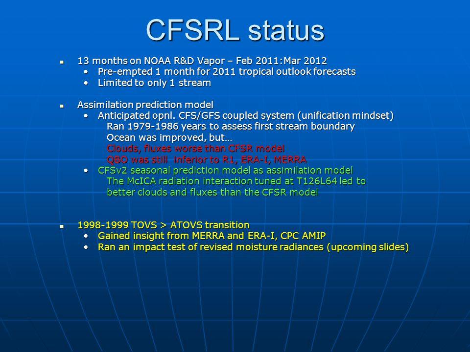 CFSRL status 13 months on NOAA R&D Vapor – Feb 2011:Mar 2012 13 months on NOAA R&D Vapor – Feb 2011:Mar 2012 Pre-empted 1 month for 2011 tropical outl