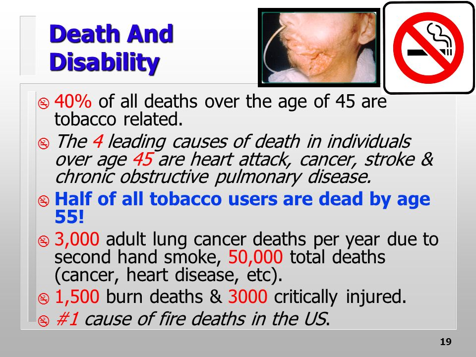 19 Death And Disability  40% of all deaths over the age of 45 are tobacco related.