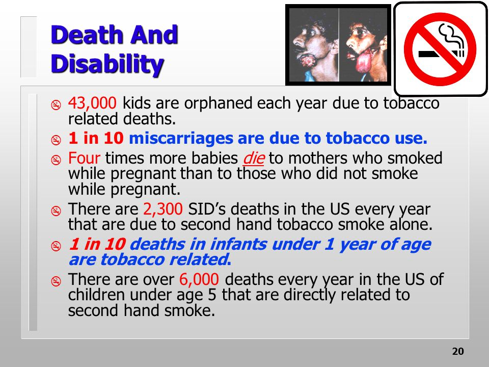20 Death And Disability  43,000 kids are orphaned each year due to tobacco related deaths.