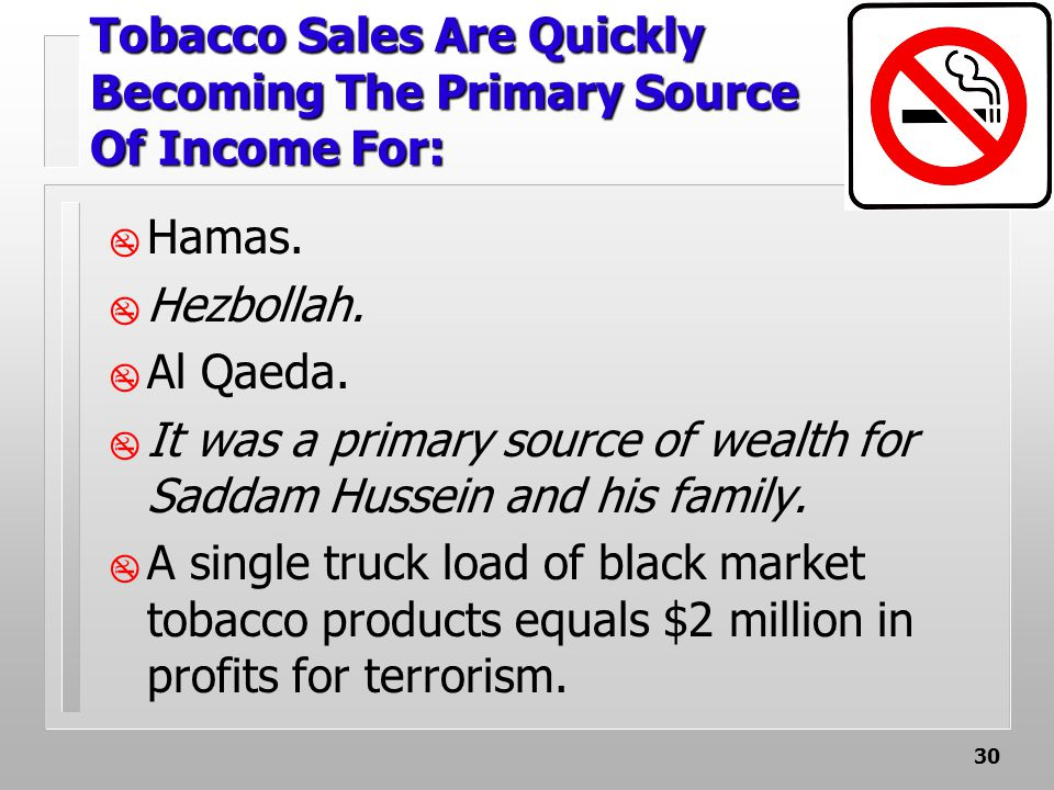 30 Tobacco Sales Are Quickly Becoming The Primary Source Of Income For:  Hamas.