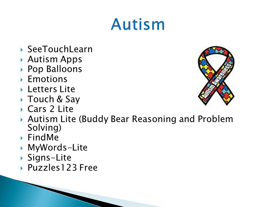  SeeTouchLearn  Autism Apps  Pop Balloons  Emotions  Letters Lite  Touch & Say  Cars 2 Lite  Autism Lite (Buddy Bear Reasoning and Problem Solving)  FindMe  MyWords-Lite  Signs-Lite  Puzzles123 Free
