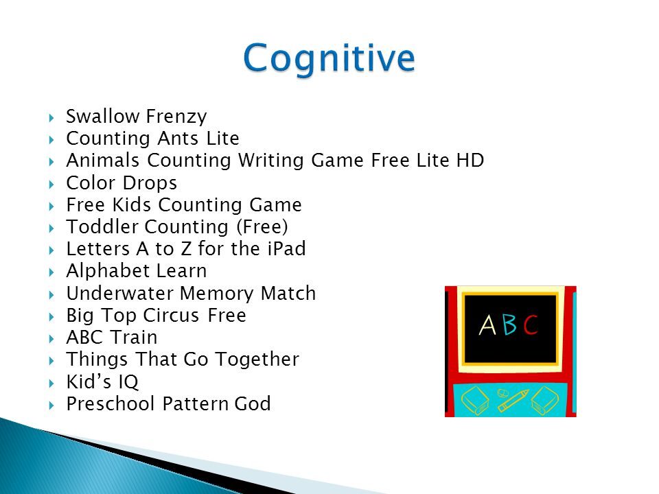  Swallow Frenzy  Counting Ants Lite  Animals Counting Writing Game Free Lite HD  Color Drops  Free Kids Counting Game  Toddler Counting (Free)  Letters A to Z for the iPad  Alphabet Learn  Underwater Memory Match  Big Top Circus Free  ABC Train  Things That Go Together  Kid's IQ  Preschool Pattern God