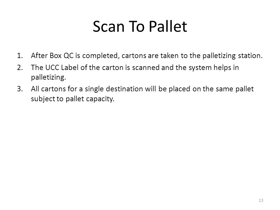 Scan To Pallet 1.After Box QC is completed, cartons are taken to the palletizing station.