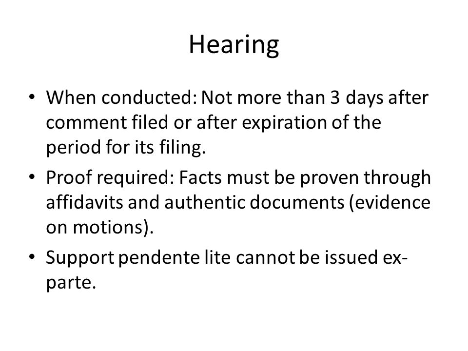 Hearing When conducted: Not more than 3 days after comment filed or after expiration of the period for its filing.