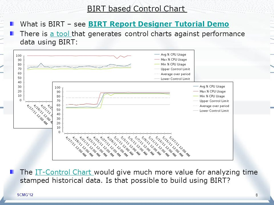 SCMG'12 BIRT based Control Chart What is BIRT – see BIRT Report Designer Tutorial DemoBIRT Report Designer Tutorial Demo There is a tool that generates control charts against performance data using BIRT:a tool The IT-Control Chart would give much more value for analyzing time stamped historical data.