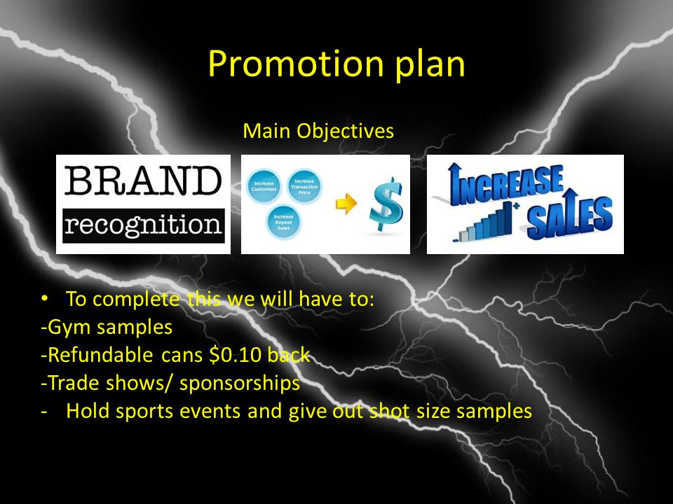 Promotion plan Main Objectives To complete this we will have to: -Gym samples -Refundable cans $0.10 back -Trade shows/ sponsorships -Hold sports events and give out shot size samples