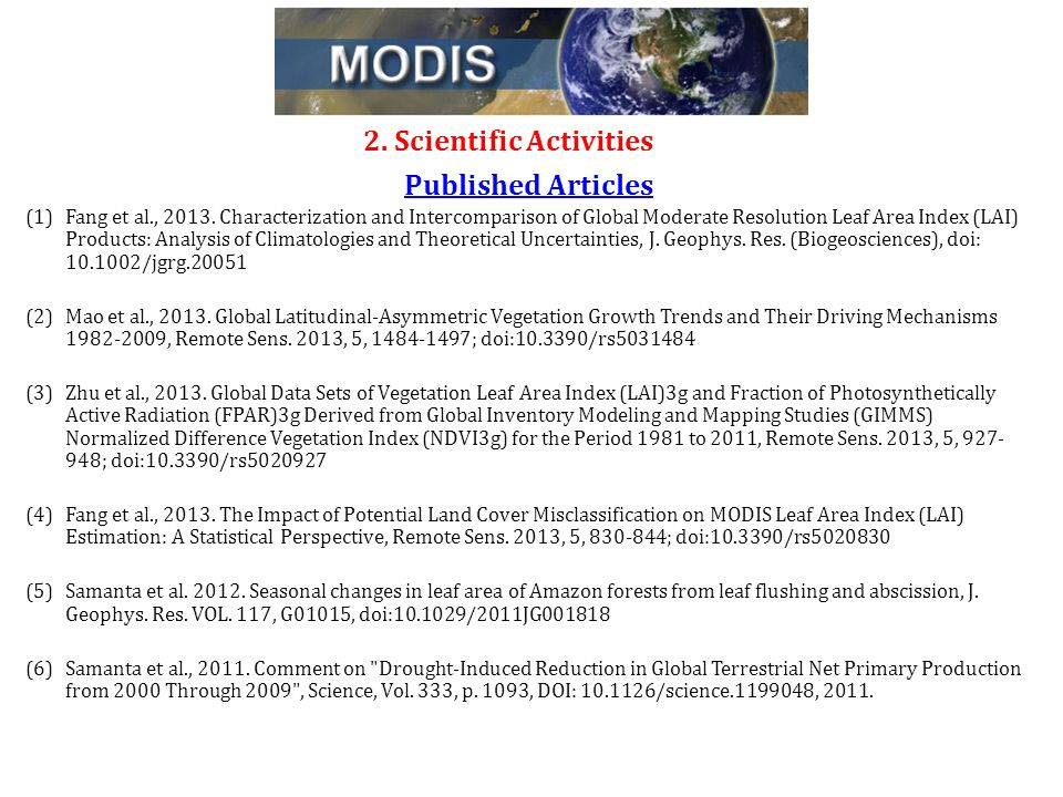2. Scientific Activities Published Articles (1)Fang et al., 2013.