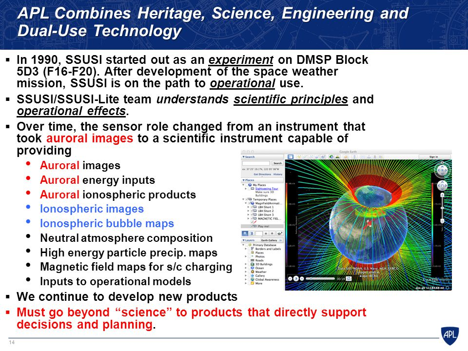 14 APL Combines Heritage, Science, Engineering and Dual-Use Technology  In 1990, SSUSI started out as an experiment on DMSP Block 5D3 (F16-F20). Afte