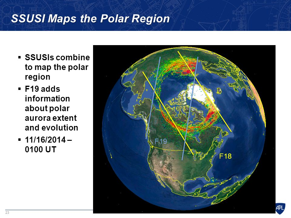 23 SSUSI Maps the Polar Region  SSUSIs combine to map the polar region  F19 adds information about polar aurora extent and evolution  11/16/2014 –