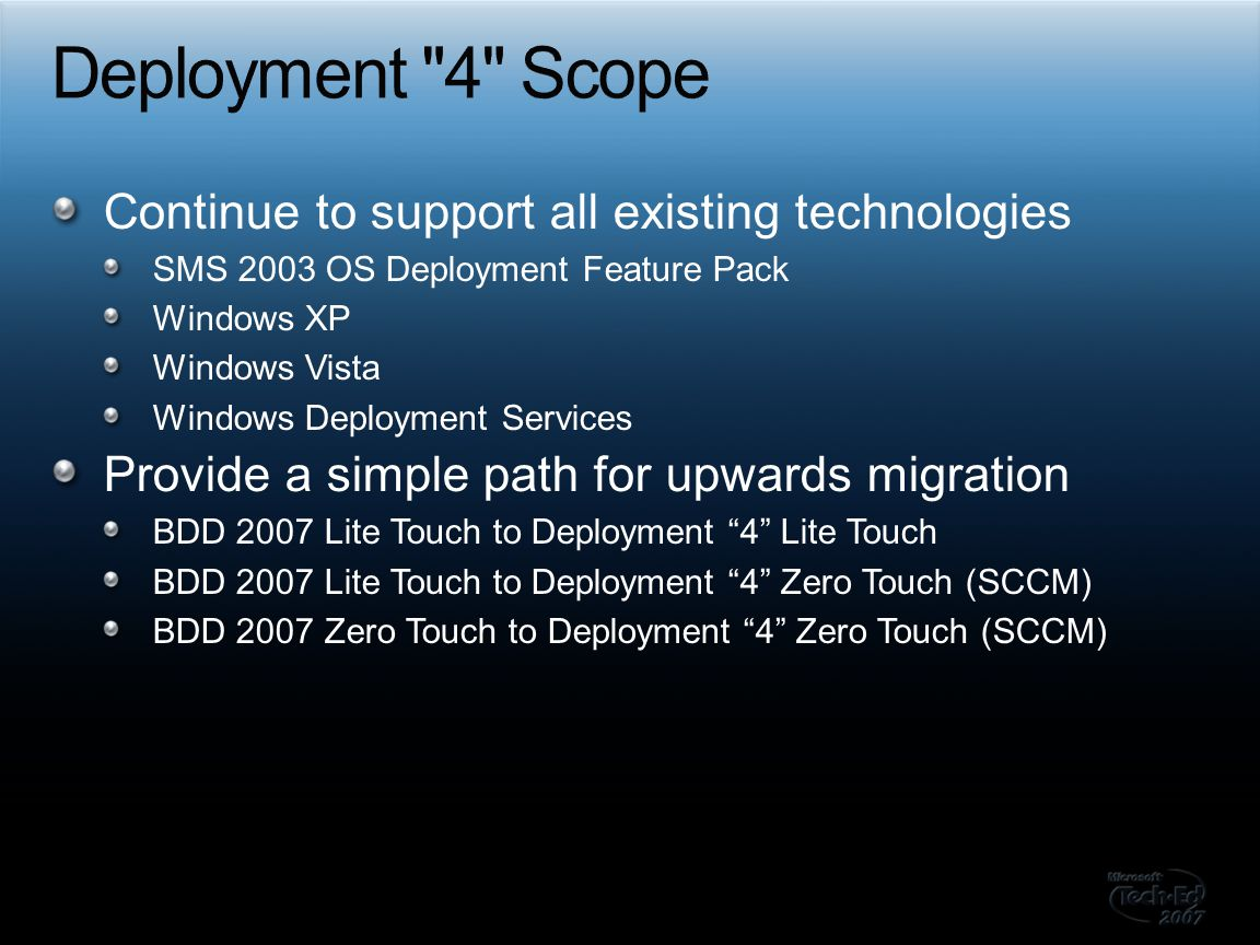 Expand into server deployment Windows Server 2003 and Windows Server 2008 Hardware configuration Advanced disk configuration Static IP support Operating system role installation and configuration Server product installation (hydration)