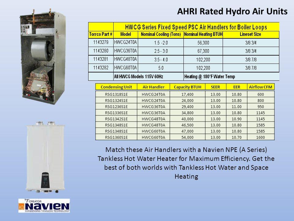 AHRI Rated Hydro Air Units RSG1318S1EHWCG24T0A17,40013.0010.80600 RSG1324S1EHWCG24T0A24,00013.0010.80800 RSG1236S1EHWCG36T0A29,40013.0011.00950 RSG133