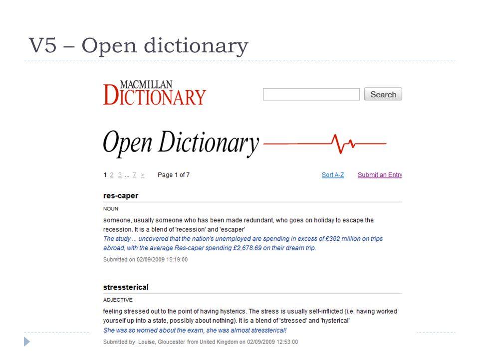 V5 – Open dictionary