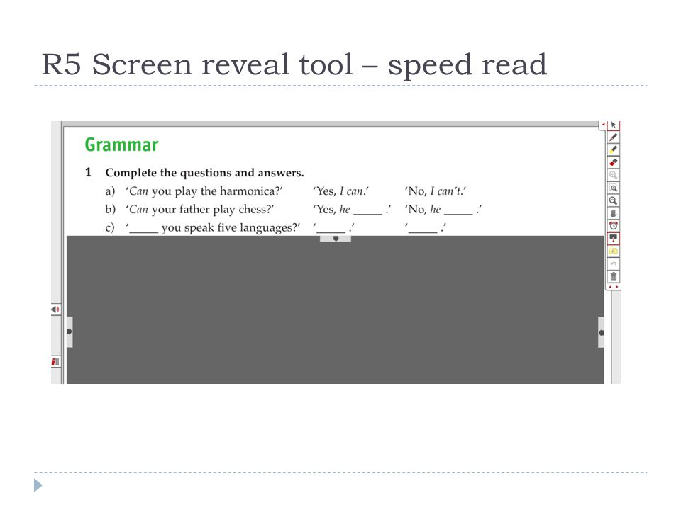 R5 Screen reveal tool – speed read