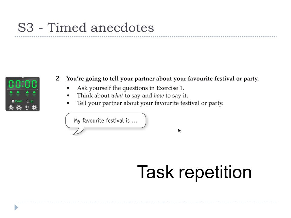 S3 - Timed anecdotes Task repetition