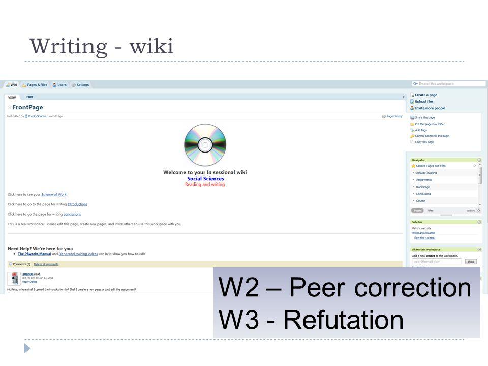 Writing - wiki W2 – Peer correction W3 - Refutation