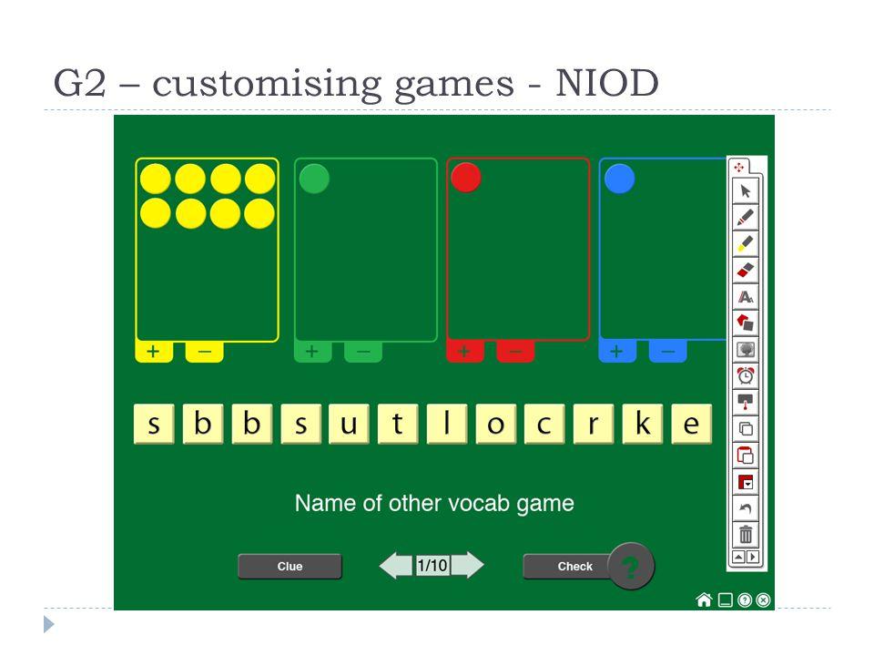 G2 – customising games - NIOD