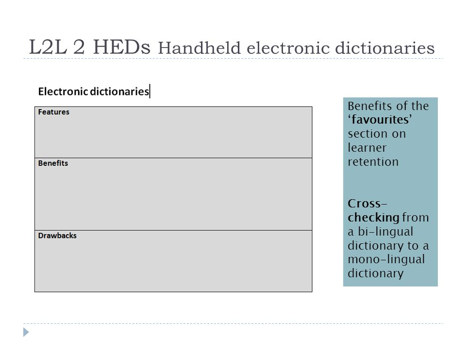 L2L 2 HEDs Handheld electronic dictionaries Benefits of the 'favourites' section on learner retention Cross- checking from a bi-lingual dictionary to