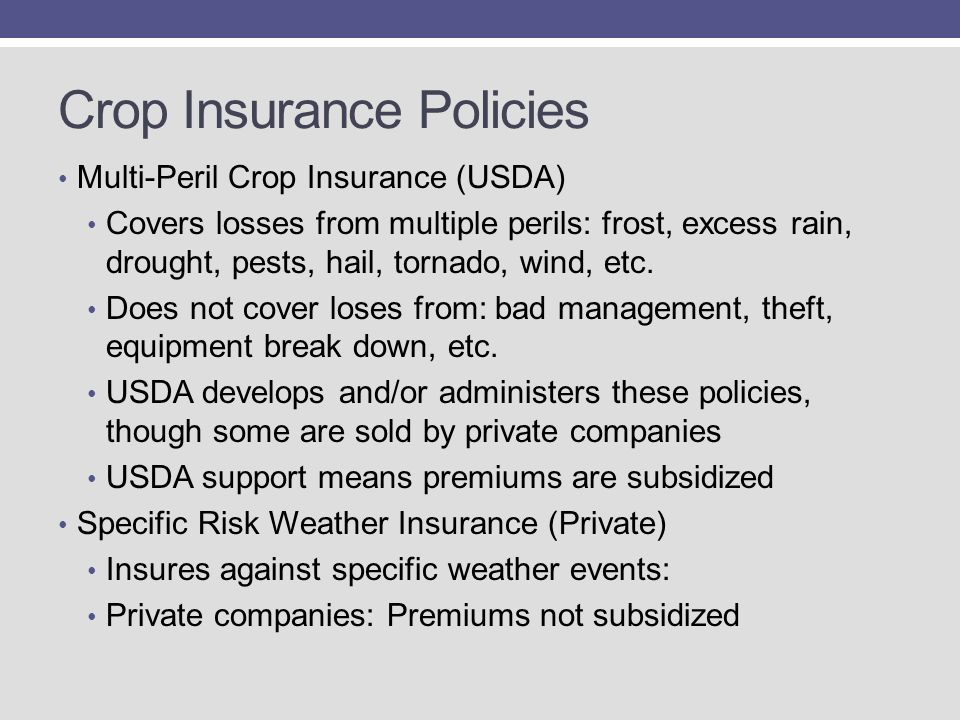 Crop Insurance Policies Multi-Peril Crop Insurance (USDA) Covers losses from multiple perils: frost, excess rain, drought, pests, hail, tornado, wind, etc.