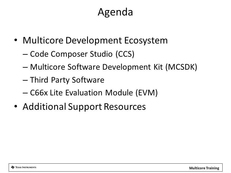 Agenda Multicore Development Ecosystem – Code Composer Studio (CCS) – Multicore Software Development Kit (MCSDK) – Third Party Software – C66x Lite Evaluation Module (EVM) Additional Support Resources