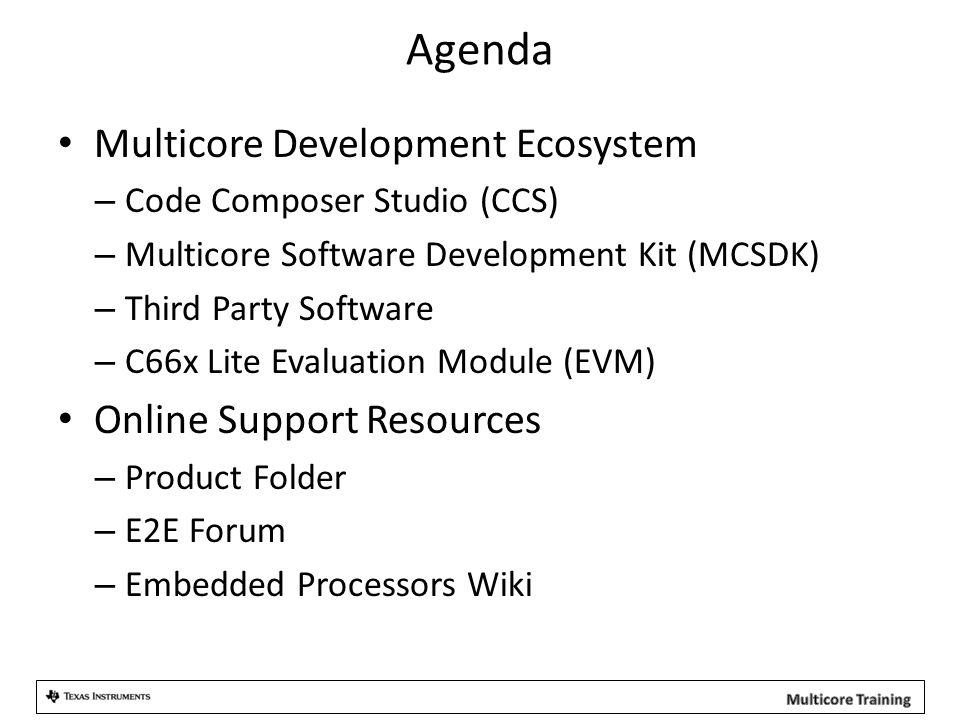 Agenda Multicore Development Ecosystem – Code Composer Studio (CCS) – Multicore Software Development Kit (MCSDK) – Third Party Software – C66x Lite Evaluation Module (EVM) Online Support Resources – Product Folder – E2E Forum – Embedded Processors Wiki