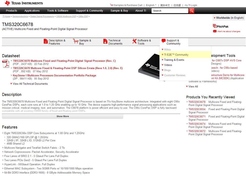 Product Folder Top Support Menu