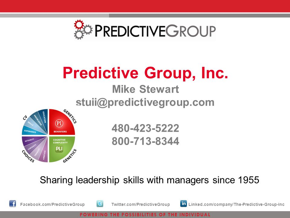 Predictive Group, Inc. Mike Stewart stuii@predictivegroup.com 480-423-5222 800-713-8344 Sharing leadership skills with managers since 1955 Facebook.co