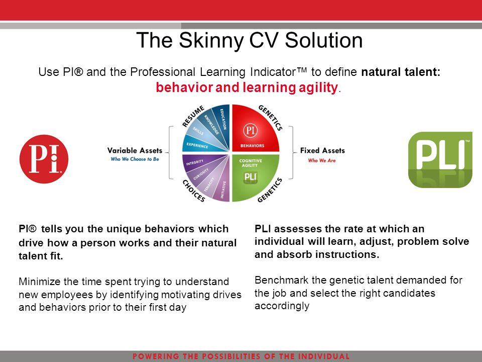 The Skinny CV Solution Use PI® and the Professional Learning Indicator™ to define natural talent: behavior and learning agility. PI® tells you the uni