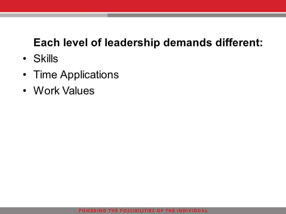 Each level of leadership demands different: Skills Time Applications Work Values