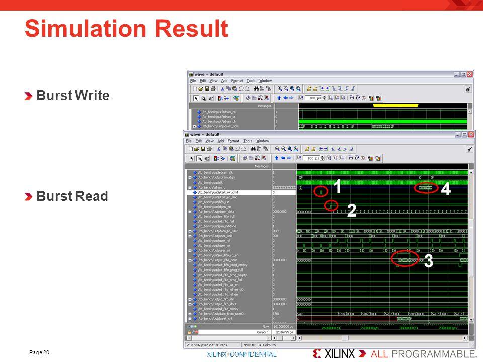 XILINX CONFIDENTIAL. Page 20 Simulation Result © Copyright 2012 Xilinx Burst Write Burst Read