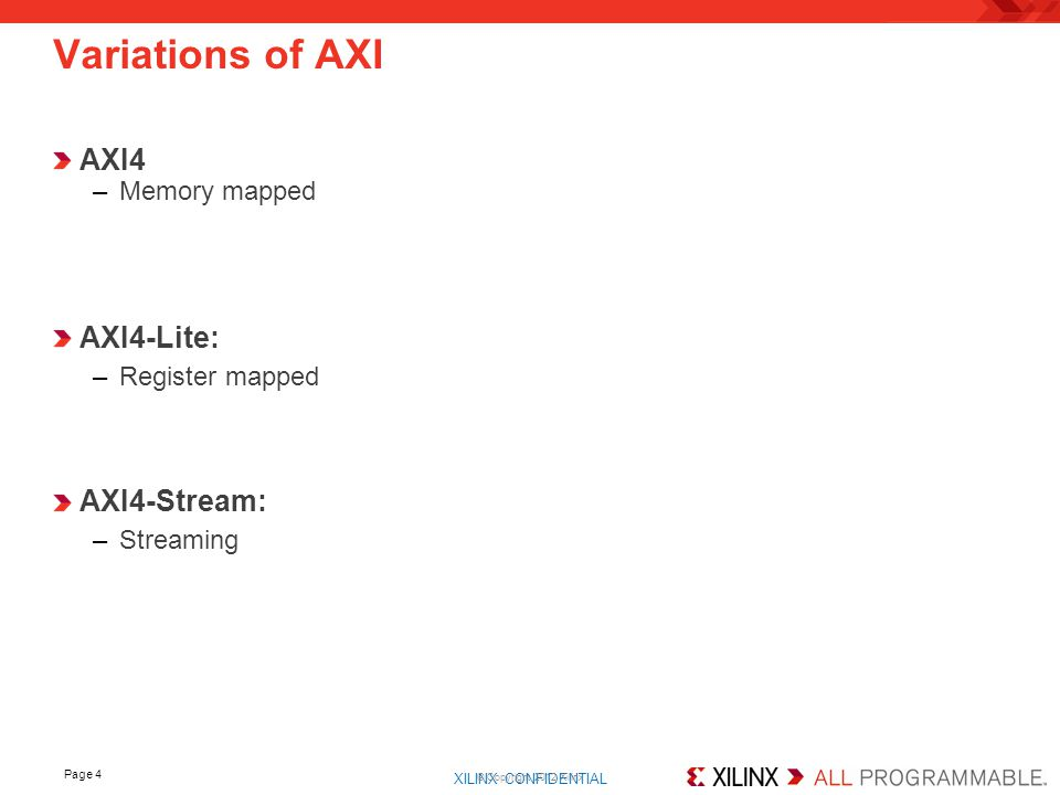 XILINX CONFIDENTIAL. AXI4 –Memory mapped Page 4 Variations of AXI © Copyright 2012 Xilinx AXI4-Lite: –Register mapped AXI4-Stream: –Streaming