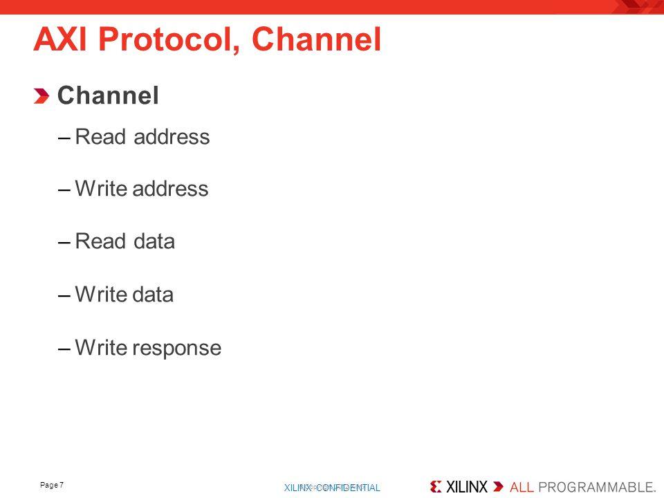 XILINX CONFIDENTIAL. Channel –Read address –Write address –Read data –Write data –Write response Page 7 AXI Protocol, Channel © Copyright 2012 Xilinx