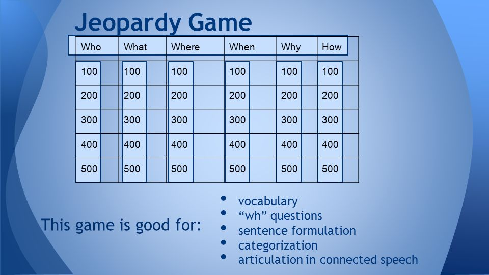 vocabulary wh questions sentence formulation categorization articulation in connected speech Jeopardy Game WhoWhatWhereWhenWhyHow 100 200 300 400 500 This game is good for: