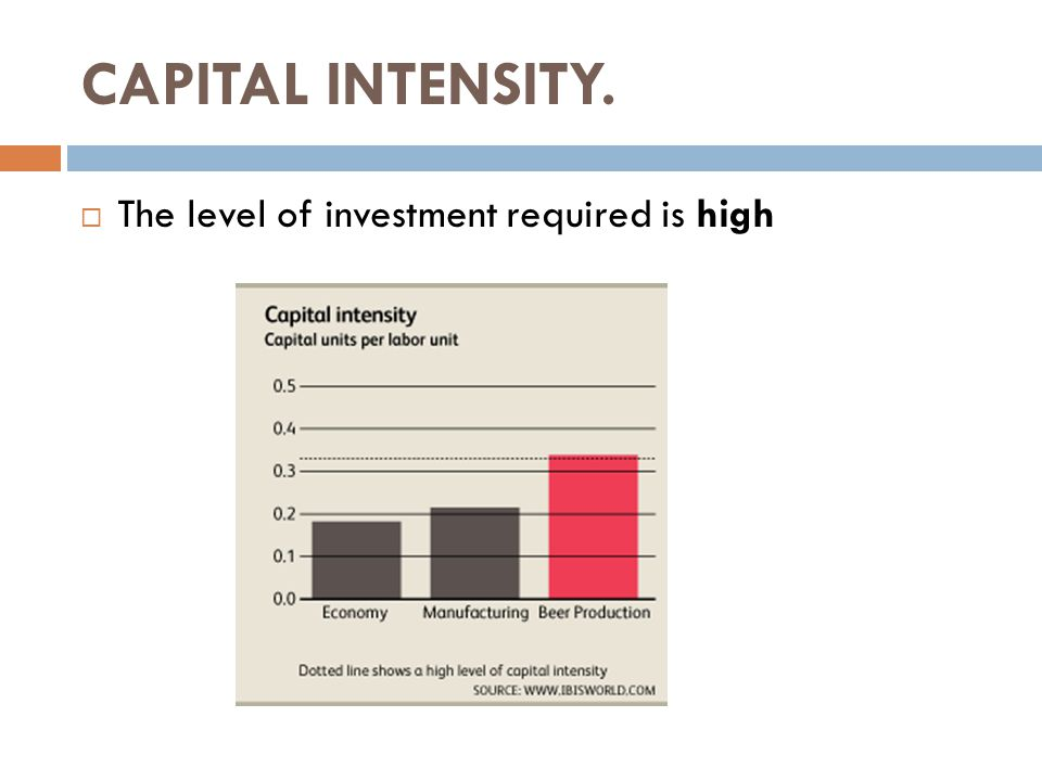 CAPITAL INTENSITY.  The level of investment required is high