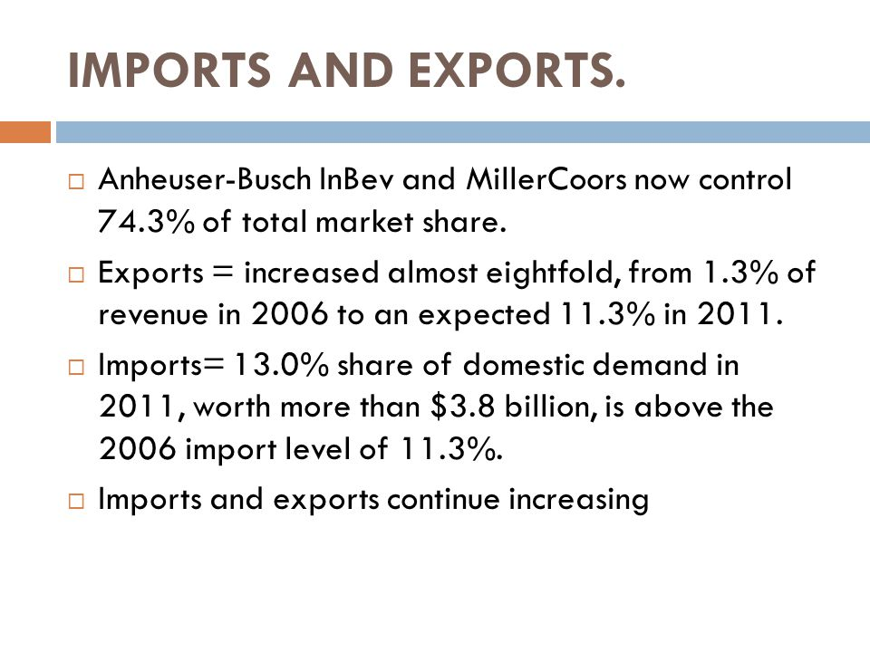  Anheuser-Busch InBev and MillerCoors now control 74.3% of total market share.
