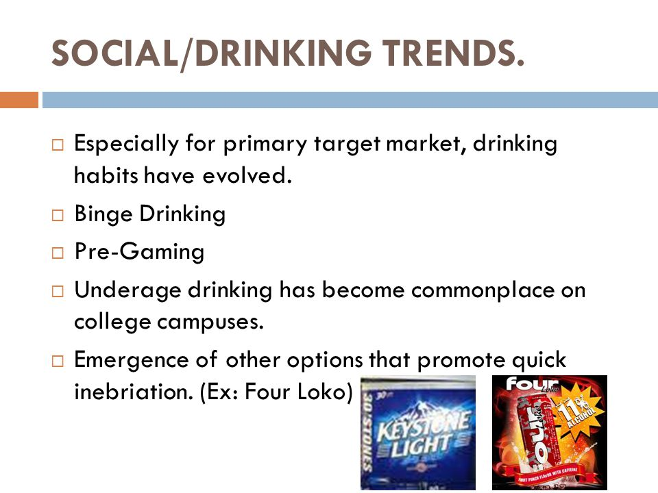 SOCIAL/DRINKING TRENDS.  Especially for primary target market, drinking habits have evolved.
