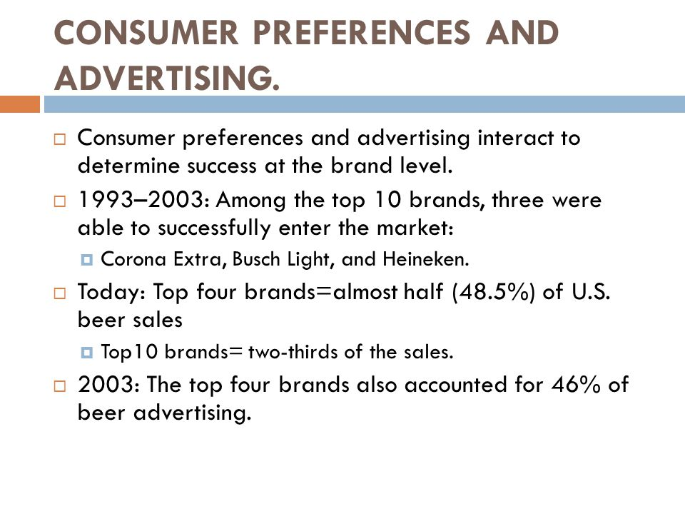 CONSUMER PREFERENCES AND ADVERTISING.