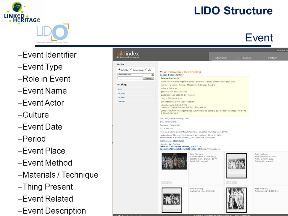 LIDO Structure Event 27  Event Identifier  Event Type  Role in Event  Event Name  Event Actor  Culture  Event Date  Period  Event Place  Event Method  Materials / Technique  Thing Present  Event Related  Event Description