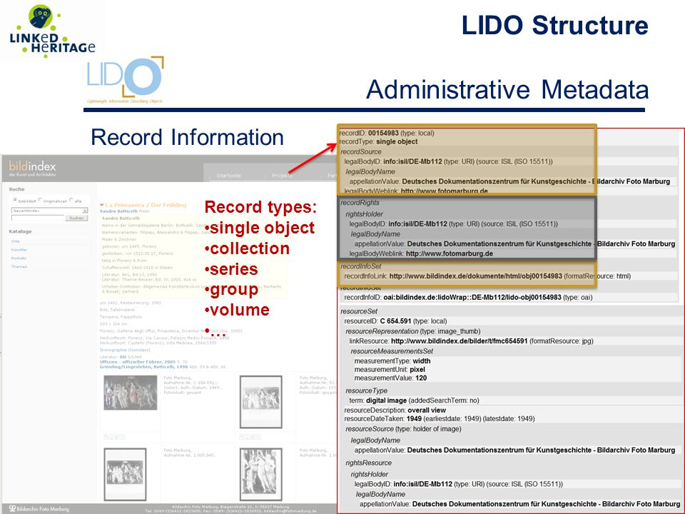 LIDO Structure Administrative Metadata Record types: single object collection series group volume … Record Information