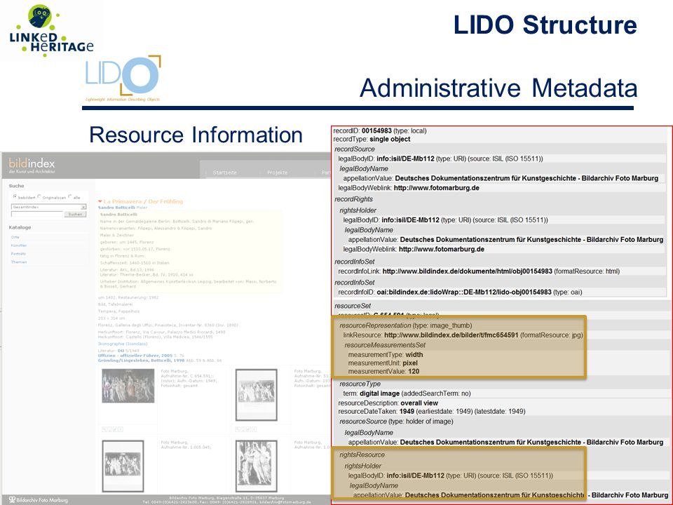 LIDO Structure Administrative Metadata Resource Information