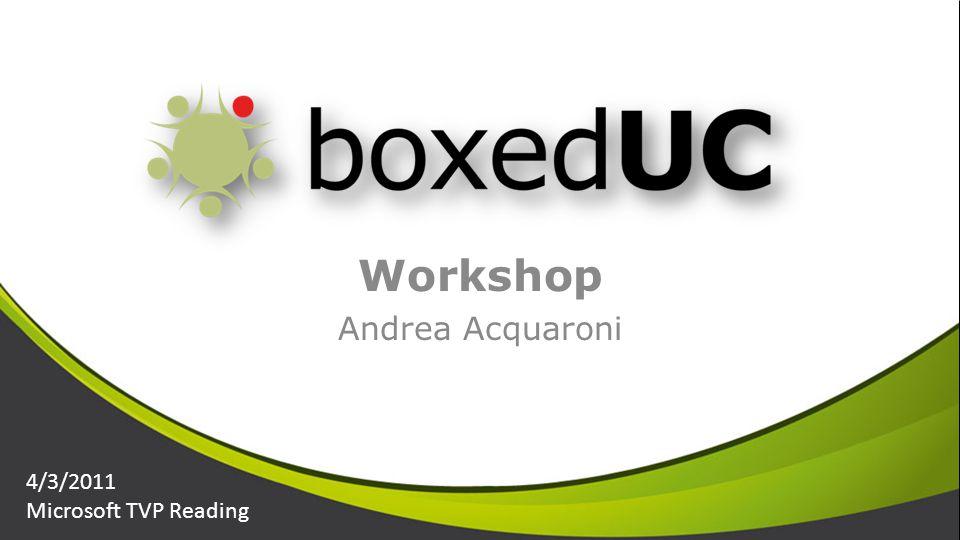 Workshop Andrea Acquaroni 4/3/2011 Microsoft TVP Reading
