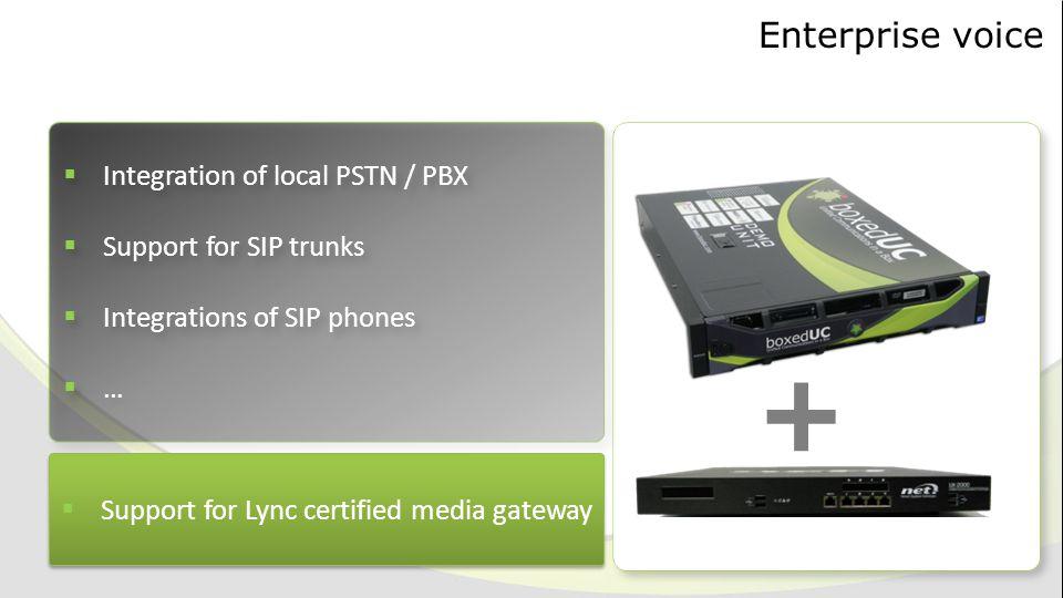 Enterprise voice  Support for Lync certified media gateway +  Integration of local PSTN / PBX  Support for SIP trunks  Integrations of SIP phones  …  Integration of local PSTN / PBX  Support for SIP trunks  Integrations of SIP phones  …