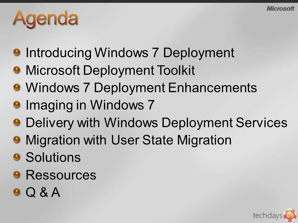 Introducing Windows 7 Deployment Microsoft Deployment Toolkit Windows 7 Deployment Enhancements Imaging in Windows 7 Delivery with Windows Deployment