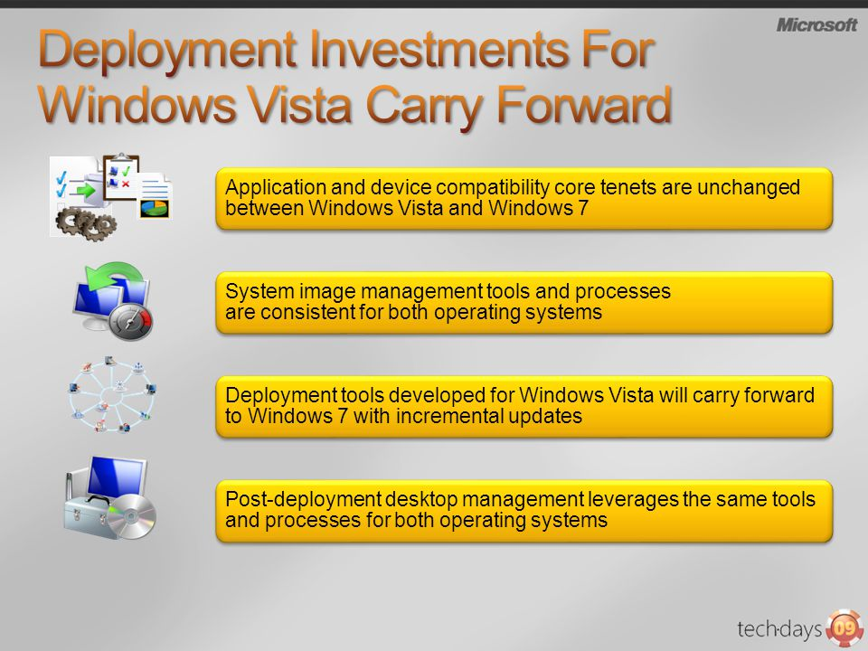 Application and device compatibility core tenets are unchanged between Windows Vista and Windows 7 System image management tools and processes are con