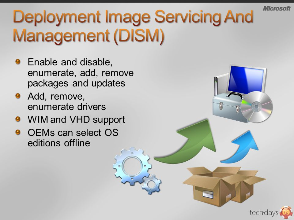 DISM /add-package /remove- package /get-packages /add-drivers /remove-drivers /get-drivers /mount-wim /unmount-wim /commit-wim Package Manager /ip /iu /up /uu /mount /unmount /commit Commands Add Package Add update Remove Package Remove Update Enumerate Packages Add Drivers Remove Drivers Enumerate Drivers Mount WIM Unmount WIM Commit Changes (WIM) ImageX +Intlconfig